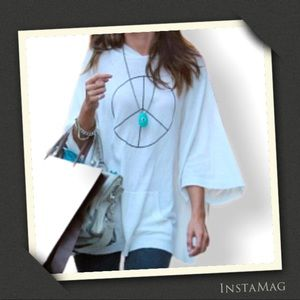 WILDFOX Peace Sign Oversized Hooded Poncho Sweater